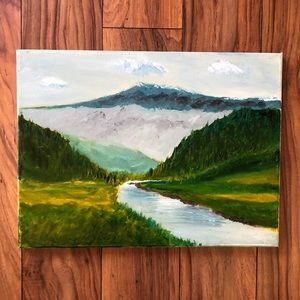 Mountain and River Landscape Canvas Painting